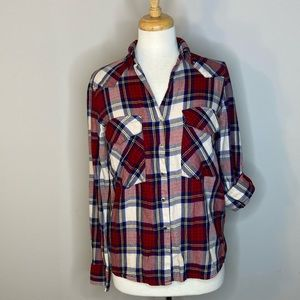 Zara Red & White Flannel Plaid Shirt XS